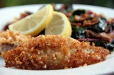 Panko & Almond Crusted Tilapia with Sauteed Chard & Prosciutto